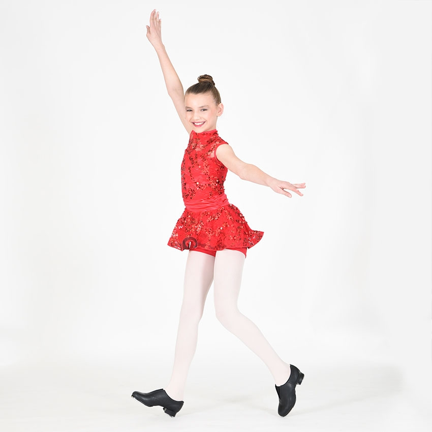 girl in red tapping