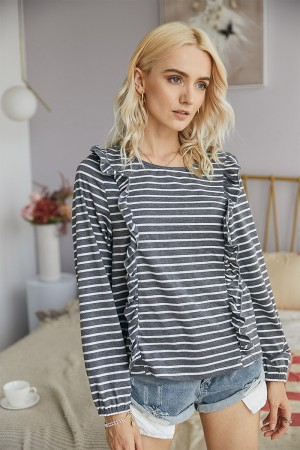 Charcoal & White Striped Top