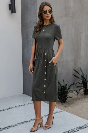Soft Charcoal Cotton Dress