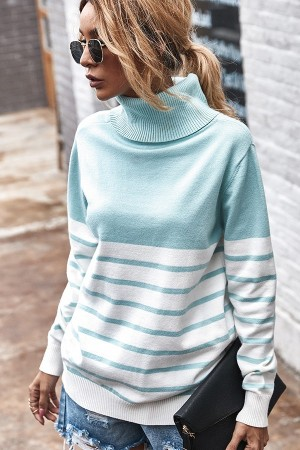 Blue & White Stripe Turtleneck Sweater