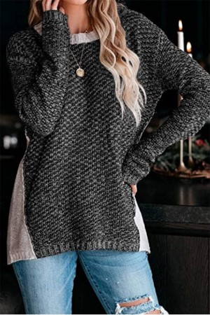 Heathered Cotton Blend Sweater