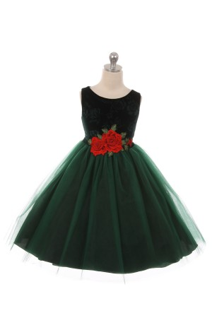 Green Velvet Tulle Dress