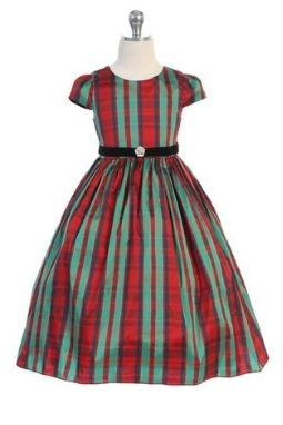 Taffeta Red & Green Plaid Dress