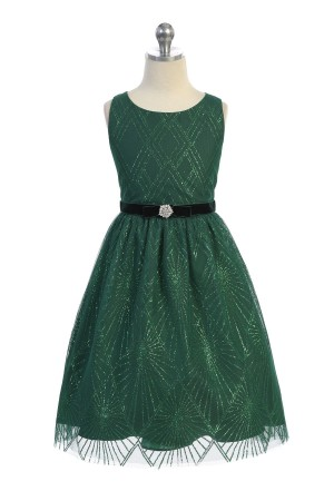Green Sparkle Overlay Dress