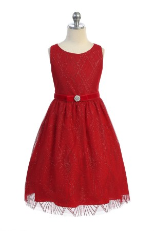 Red Sparkle Overlay Dress